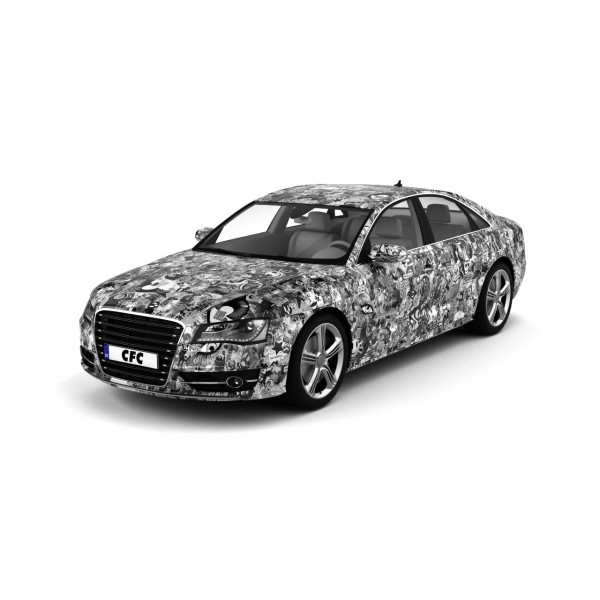 Car Wrap Folie CFC Stickerbom Black/white glans 150x100cm